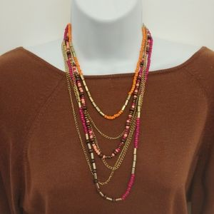 Multistrand Necklace, Chains, Beads, Metallics